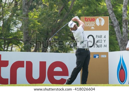 HUAHIN, THAILAND-FEBRUARY 12: Mikael Lundberg of Sweden in action during Round 1 of 2015 True Thailand Classic on February 12, 2015 at Black Mountain Golf Club in Hua Hin, Thailand - stock photo