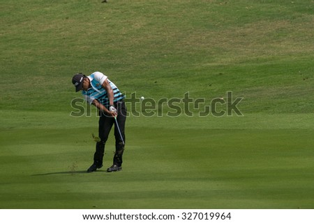 HUAHIN, THAILAND-FEBRUARY 12: Piya Swangarunporn of Thailand in action during Round 1 of 2015 True Thailand Classic on February 12, 2015 at Black Mountain Golf Club in Hua Hin, Thailand - stock photo