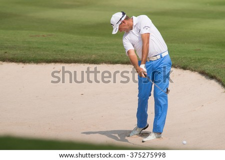 HUAHIN, THAILAND-FEBRUARY 12: Sam Brazel of Australia in action during Round 1 of 2015 True Thailand Classic on February 12, 2015 at Black Mountain Golf Club in Hua Hin, Thailand - stock photo