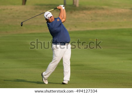 HUAHIN, THAILAND-FEBRUARY 12: Seukhyun Baek of South Korea in action during Round 1 of 2015 True Thailand Classic on February 12, 2015 at Black Mountain Golf Club in Hua Hin, Thailand