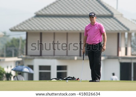 HUAHIN, THAILAND-FEBRUARY 12: Tom Lewis of England thinks of his next move during Round 1 of 2015 True Thailand Classic on February 12, 2015 at Black Mountain Golf Club in Hua Hin, Thailand