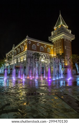 Huahin/Thailand - March14: The Venezia new famous landmark for tourist and market place during night . The inspiration of this project came from Venice in Italy on March14,2015 .