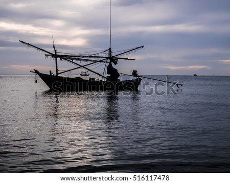 HUAHIN THAILAND : silhouette fishing boat on sunrise time