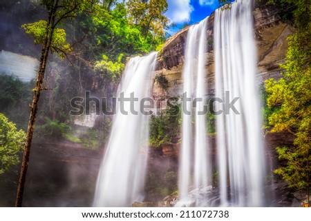 Huai Luang Waterfall at Ubon Ratchathani in Thailand - stock photo