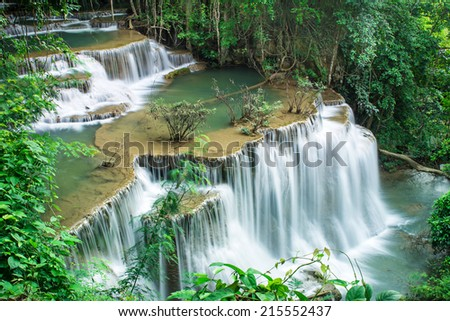 Huai Mae Khamin waterfall in deep forest, Thailand