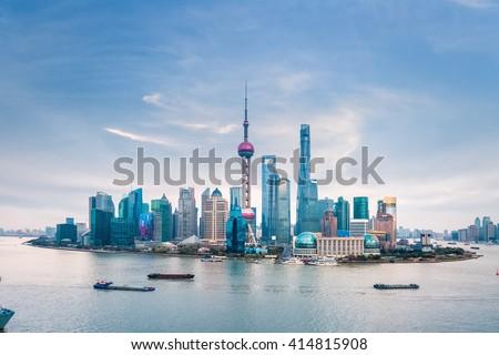 huangpu river and shanghai skyline at dusk ,China - stock photo