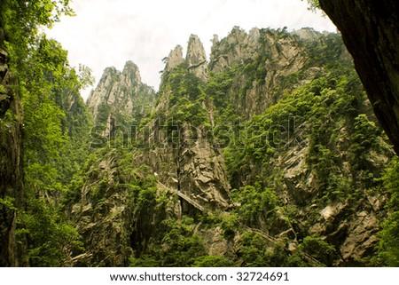 huangshan and dangerous trekking path - stock photo
