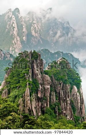 Huangshan peak Yellow sacred mountains in China - stock photo