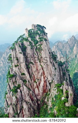Huangshan peek in chinese yellow mountains, Avatar mountains - stock photo
