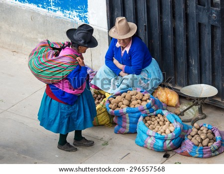 HUARAZ, PERU - APR 15: Peruvian woman on the street on Apr 15, 2015 in Huaraz, Peru - stock photo