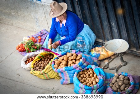 HUARAZ, PERU - APR 15: Peruvian woman on the street on Apr 15, 2015 in Huaraz, Peru