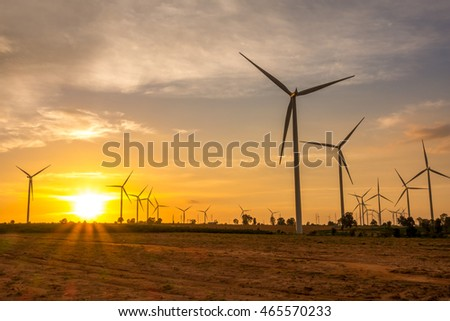 Huay Bong Wind Farm Thailand on sunset
