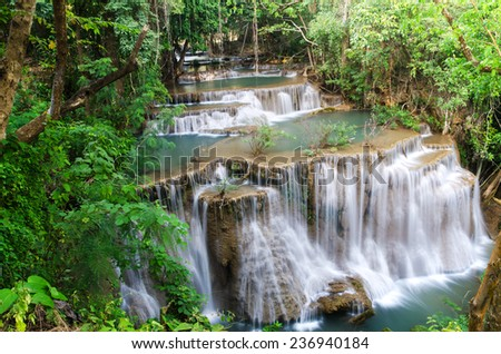 Huay Mae Kamin , beautiful waterfall in green forest, Thailand