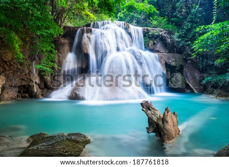 Huay Mae Kamin Waterfall at Kanchanaburi province, Thailand - stock photo