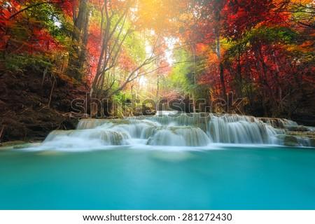 Huay Mae Kamin Waterfall, beautiful waterfall in autumn forest, Kanchanaburi province, Thailand - stock photo