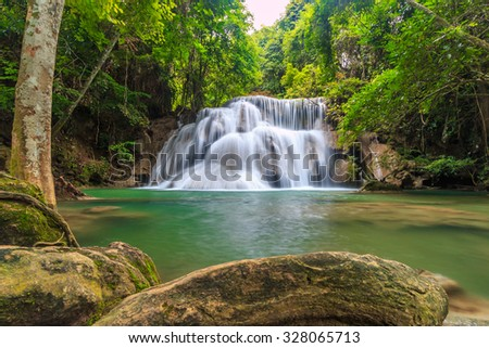 Huay Mae Kamin Waterfall in kanchanaburi of Thailand