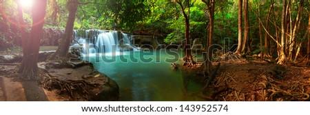 Huay mae kamin waterfall in Kanchanaburi, Thailand, Panorama - stock photo