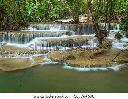 Huay Mae Kamin waterfall in Kanjanaburi Thailand - stock photo