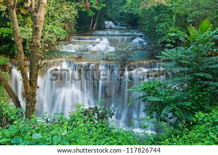 Huay mae kamin waterfall in Sri nakarin dam national park, Thailand - stock photo