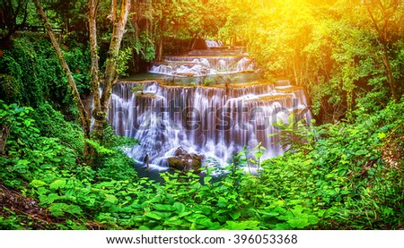 Huay Mae Kamin waterfall in Thailand waterfall is beautiful, do not lose any. - stock photo