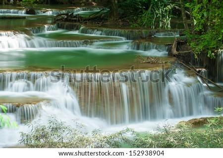Huay mae Kamin waterfall, Kanchanaburi, Thailand - stock photo