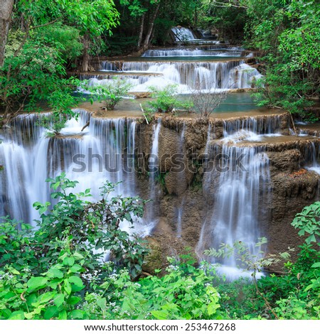 Huay Mae Khamin, paradise Waterfall located in deep forest of Th - stock photo