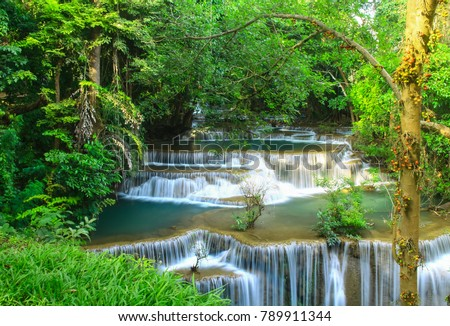 Huay Mae khamin waterfall a beautiful haven of the middle of the forest in Kanchanaburi.  Thailand