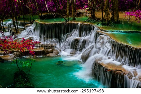 Huay mae khamin waterfall in.Thailand - stock photo