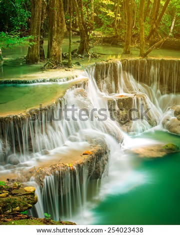 Huay Mae Khamin waterfall in tropical forest of national park, Thailand  - stock photo