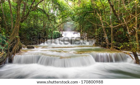 Huay Mae Khamin Waterfall, Paradise in Tropical rain forest of Thailand - stock photo