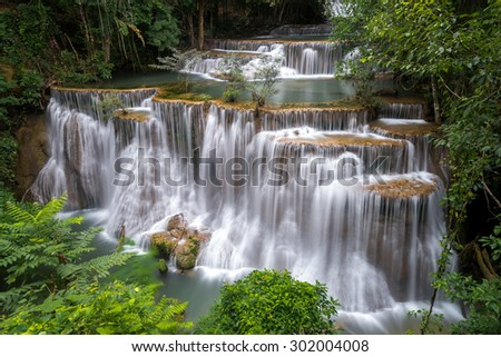 Huay Me Kamin Waterfall, this is beautiful and famous waterfall in Kanchaburi province, Thailand - stock photo