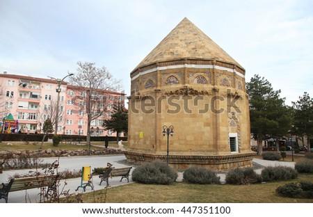 Hudavent Hatun Tomb (Turkish: Hudavent Hatun Turbesi) at Nigde city center in Central Anatolia, Turkey.  - stock photo