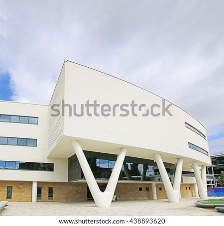 HUDDERSFIELD, UK - JUNE 18 2016: Creative Arts Building, Huddersfield University, a purpose-built, state-of-the-art facility which opened in July 2008 - stock photo
