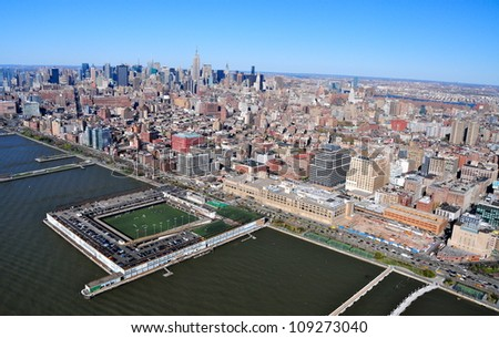 Hudson River & Greenwich Village, New York - stock photo