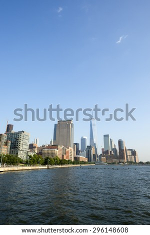 Hudson River Skyline view of Downtown Manhattan New York City