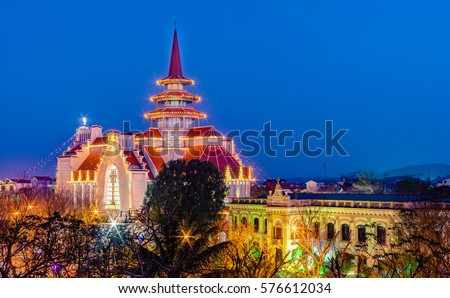 Hue City, Vietnam, 25 December 2016 : Redemptorist Church in Hue City at Christmas ,very famous and beautiful Church in Hue City, a most famous city for travel in Vietnam ,Unesco World Heritage Site.