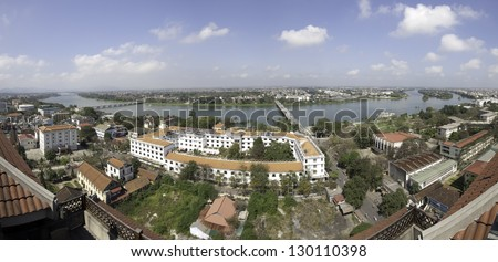 HUE, VIETNAM - FEBRUARY 6: Aerial view of Hue on February 6, 2013 in Hue, Vietnam. Hue is the capital city of Thua Thien province and it�´s population stands at about 340000 in 2012.