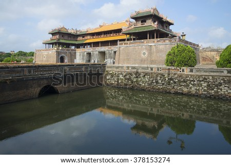 HUE, VIETNAM - JANUARY 08, 2016: The main gate of the Imperial Forbidden Purple city