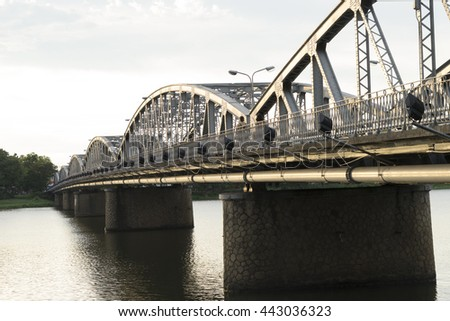 Hue, Vietnam, June 17, 2016:Bridge on the parfum river, Hue, Vietnam.