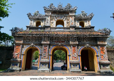 HUE, VIETNAM - MARCH 27, 2015: Structures of Hue Citadel Complex.Complex of Hue Monuments lies along the Perfume River in Hue City and some adjacent areas of Thua Thien Hue Province
