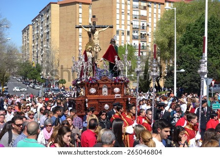 HUELVA, ANDALUSIA, SPAIN - MARCH 30: The penitents of the brotherhood accompanied Christ on Easter Monday (el Perdon) tradition hundreds of years, typical in Andalusia, march 30, 2015 in Huelva, Spain
