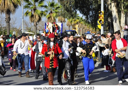 HUELVA, SPAIN - JANUARY 5: The Cavalcade of Magi, (Cabalgata de Reyes Magos) traditional parade of kings coaches in street, January 5, 2013 in Huelva, Andalusia, Spain