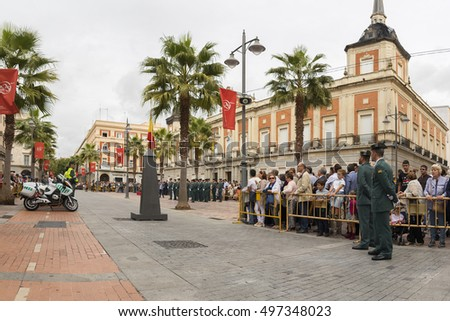 HUELVA, SPAIN - OCTOBER 12:Acts in the National Feast in town hall on October 12, 2016 in Huelva, Spain