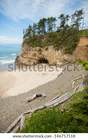 Hug Point State Park beach in northern Oregon - stock photo