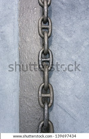 huge anchor chain links on a vessel - stock photo