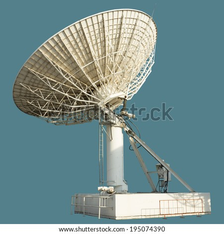 huge antenna disc transmitter and receiver contact satellite in isolated background with work paths, clipping paths included   - stock photo