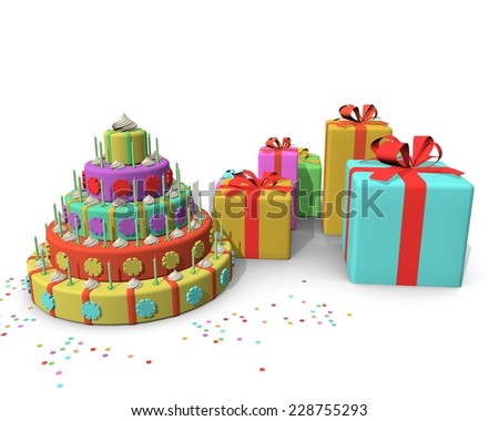 Huge Birthday Cake Presents Stock Illustration 228755293 Shutterstock