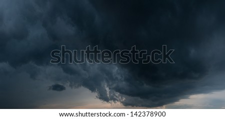 huge black cloud - stock photo