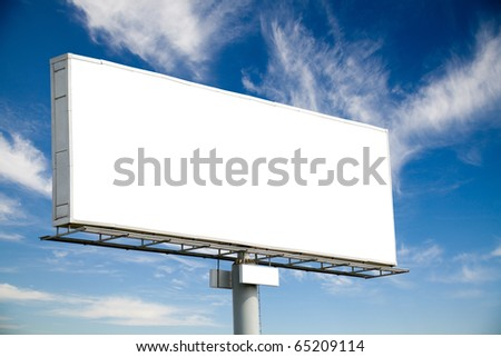 Huge blank billboard against blue sky for your advertisement - stock photo