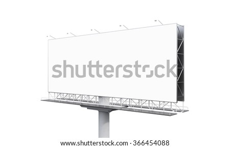huge blank billboard on one support at white background. Side view. Concept of advertising. 3D rendering